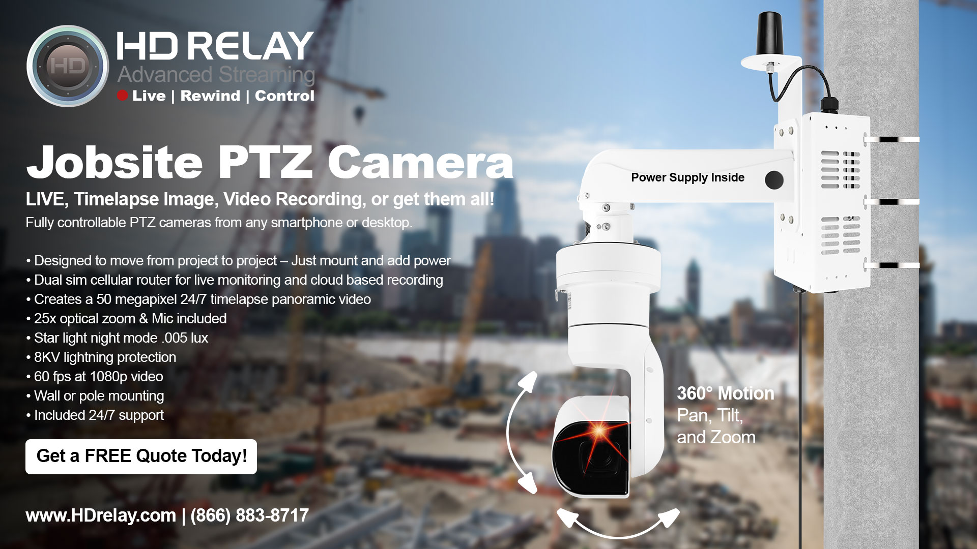 jobsite camera ptz with dual sim cellular router