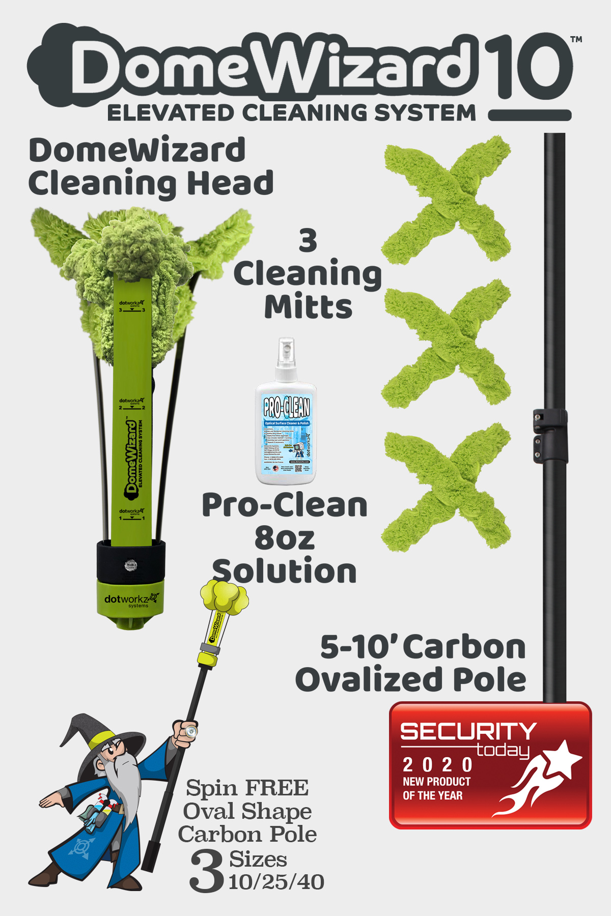 DomeWizard 10 - Elevated Cleaning System with Multiple Cleaning Modes from Dotworkz 2020