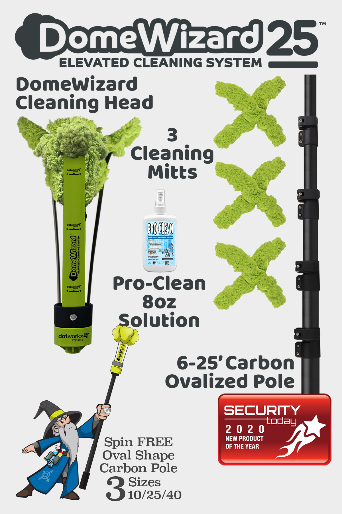 DomeWizard 25 - Elevated Cleaning System with Multiple Cleaning Modes from Dotworkz 2020
