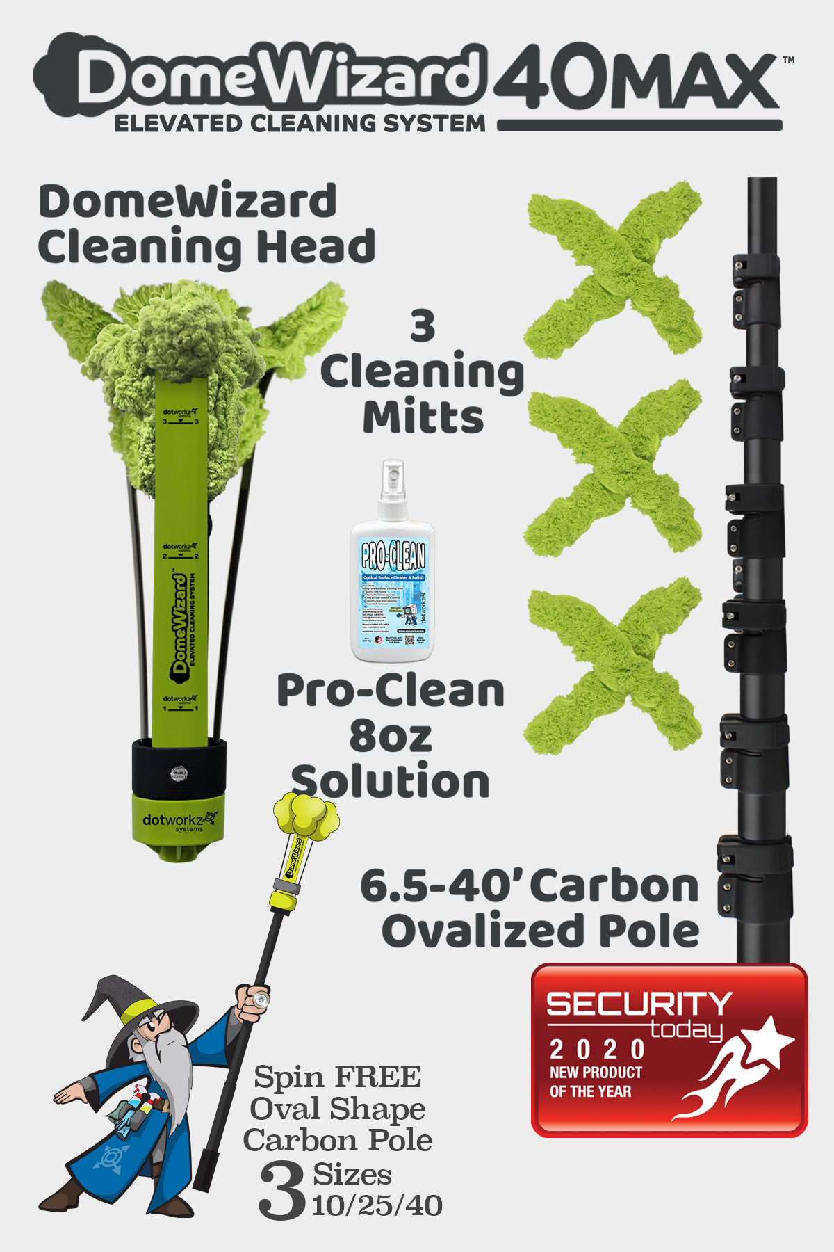DomeWizard 40MAX - Elevated Cleaning System with Multiple Cleaning Modes from Dotworkz 2020